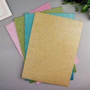 Пластик мягкий цветной с блестками А4, набор 4 шт