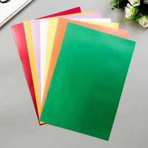 """Цветная бумага самоклеящаяся А4 """"Перламутровые краски"""", 8 листов, 8 цветов, мелованная, в папке, 190 г/м2"""
