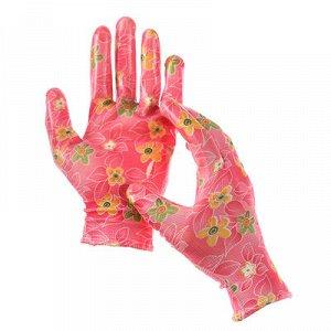 Перчатки садовые нейлон, латекс, размер 8, МИКС