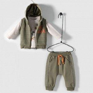 Трикотажный комплект для мальчика из хлопка BE COOL (свитшот, штаны, жилетка) хаки | Bebetto | Турция