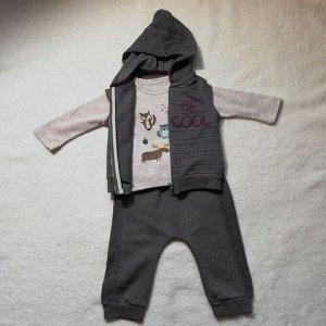 Трикотажный комплект для мальчика из хлопка BE COOL (свитшот, штаны, жилетка) серый | Bebetto | Турция