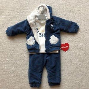 Утеплённый вельветовый комплект для мальчика BEAR FRIEND синий (свитшот, штаны, толстовка) | Bebetto | Турция
