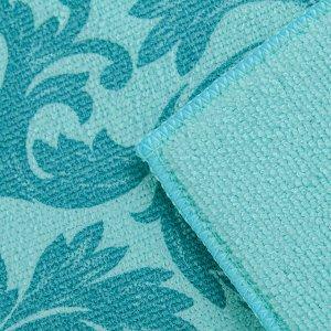 Салфетка для сушки посуды Доляна «Флёр», 30?40 см, микрофибра, цвет голубой