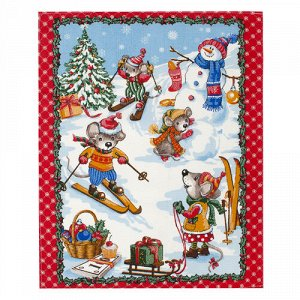 Полотенце 45х60, КУПОН, вафельное полотно, 100 % хлопок,  Новогодние каникулы (красный)
