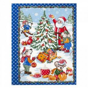 Полотенце 45х60, КУПОН, вафельное полотно, 100 % хлопок,  Новогодние каникулы (синий)