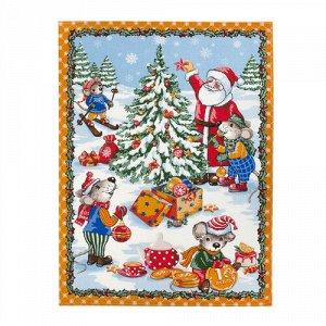 Полотенце 45х60, КУПОН, вафельное полотно, 100 % хлопок,  Новогодние каникулы (оранжевый)