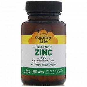 Country Life, Цинк, 50 мг, 180 таблеток