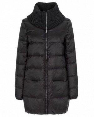 Женская текстильная куртка на натуральном пуху с отделкой из трикотажа