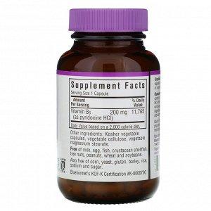 Bluebonnet Nutrition, Vitamin B-6, 200 mg, 90 Vegetable Capsules