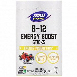Now Foods, Sports, B-12 Energy Boost, батончики, ягодный вкус, 10 000 мкг, 12 шт., 60 г (2,1 унции)