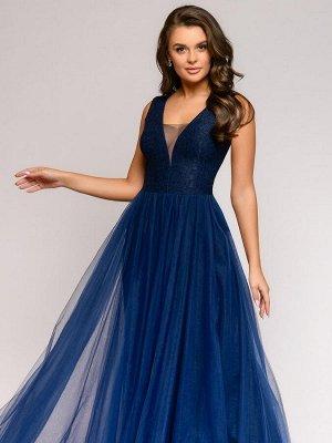 Платье темно-синее длины макси с кружевной отделкой без рукавов