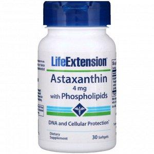 Life Extension, Астаксантин с фосфолипидами, 4 мг, 30 капсул