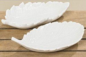 Тарелка декоративная 3914900 Перо L21cm керамика