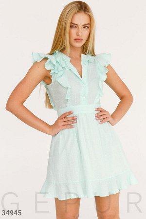 Бирюзовое хлопковое платье
