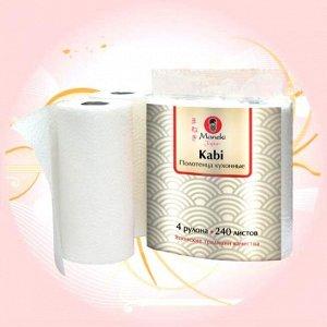 """Полотенца кухонные бумажные """"Maneki"""", серия Kabi, 2 слоя, 60 л., 4 рулона/упак"""