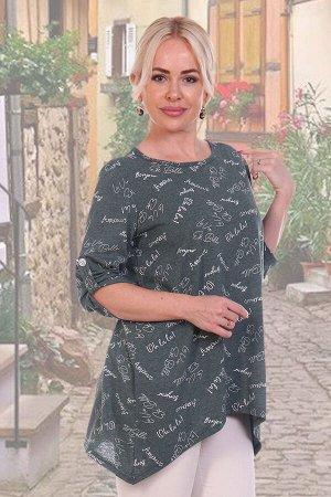 Туника Бренд: Натали Ткань: кулирка Женская туника свободного А-образного покроя выполнена из 100% хлопчатобумажного трикотажного полотна. Округлая горловина обработана окантовкой. Рукав 3/4 собран па