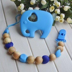 Комплект - держатель и силиконовый прорезыватель Синий слоник