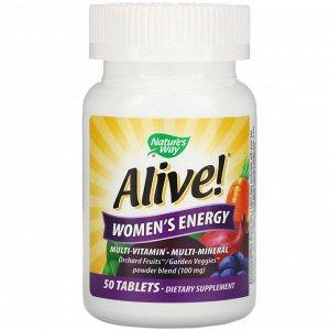 Nature&#x27 - s Way, Alive! Комплекс мультивитаминов и мультиминералов для пополнения запаса энергии женщин, 50 таблеток