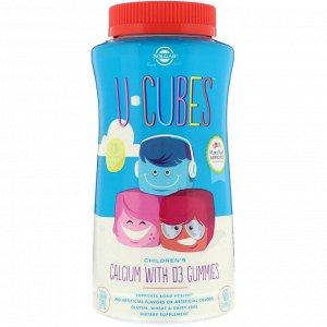 Solgar, U-Cubes, детский кальций с витамином D3, розовый лимонад, со вкусом голубики и клубники, 120 жевательных таблеток