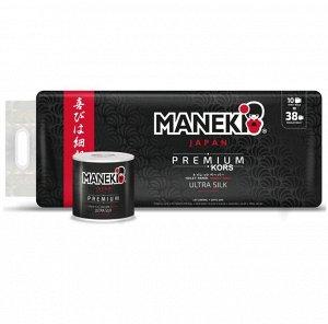 "Бумага туалетная ""Maneki"" B&W (ЧЕРНАЯ) 3 слоя, 214 л., 30 м, гладкая, с ароматом жасмина, 10 р./уп."