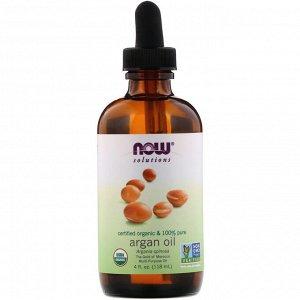 Now Foods, Solutions, сертифицированное на 100% чистое органическое аргановое масло, 118 мл (4 жидк. унций)