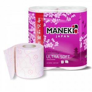 """Бумага туалетная """"Maneki"""" SAKURA 3 слоя, 167 л., 23 м, с роз. тиснением и ароматом cакуры, 4 р/упак"""