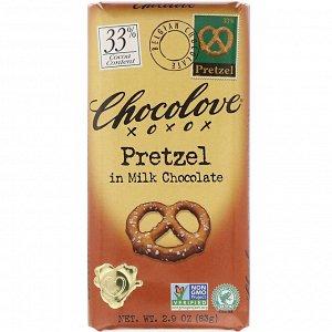 Chocolove, Pretzel in Milk Chocolate, 30% Cocoa, 2.9 oz (83 g)