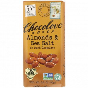 Chocolove, Миндаль с морской солью в темном шоколаде, 55% какао, 90 г (3,2 унции)