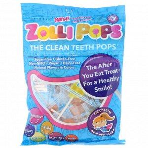 Zollipops, Леденцы Clean Teeth Pops -  клубника, апельсин, малина, вишня, виноград, ананас -  25+ ZolliPops, 5,2 унции