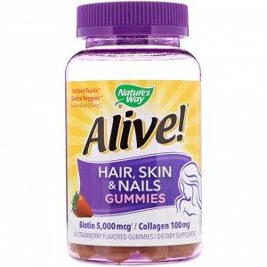 Nature&#x27 - s Way, Alive! Жевательные таблетки для здоровья волос, кожи и ногтей, со вкусом клубники, 60 шт.