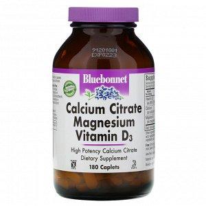 Bluebonnet Nutrition, Цитрат кальция с магнием и витамином D3, 180 капсул
