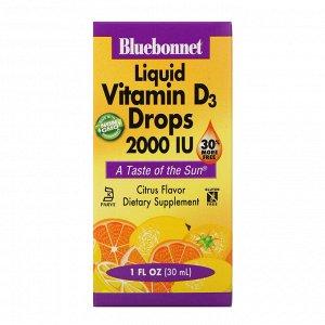 Bluebonnet Nutrition, Жидкий витамин D3 в каплях с натуральным цитрусовым вкусом, 2000 МЕ, 30 мл (1 жидкая унция)