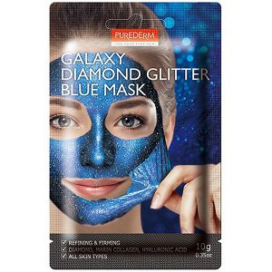 Purederm Galaxy Diamond Glitter Blue Mask Отшелушивающая маска класса люкс с бриллиантами и сверкающ