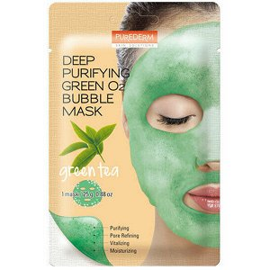 Purederm Green O2 Bubble Cleansing Mask Pack (Green Tea)