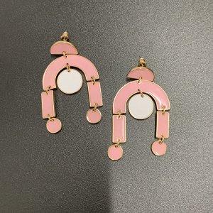 Серьги с подвесками из розовой эмали 'Фламинго'