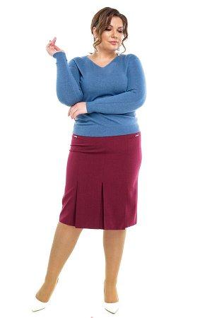 Юбка-1630 Длина платья: Ниже колена; Материал: Хлопок стрейч; Цвет: Красный; Фасон: Юбка Юбка карандаш со встречными складками бордовое Стильная юбка из мягкой плотной ткани на атласной подкладке подч