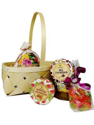 Подарочный набор Для тебя № 4 лимонный и малиновый конфитюр, мёд гречишный, цукаты, чай