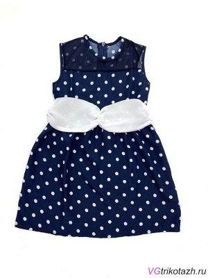 Платье Легкое шелковое платье темно-синего цвета в белый горошек, украшено сеткой и накладным поясом. Застежка молния по спинке. Два варианта : с белой и с темно-синей сеткой.