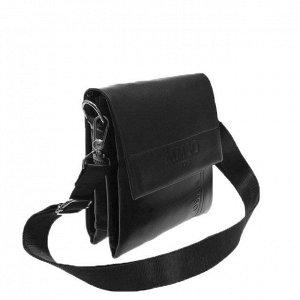 Стильный мужской планшет Osso из эко-кожи черного цвета среднего размера.