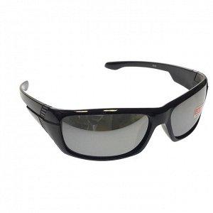 Стильные мужские очки Open в чёрной оправе с зеркальными линзами.