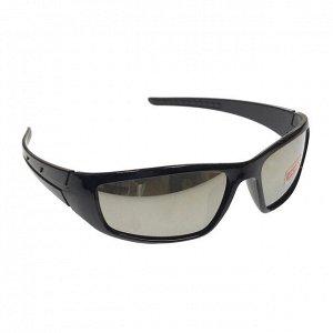 Стильные мужские очки Refetto в чёрной оправе с зеркальными линзами.