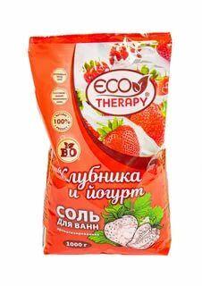ЭКОТЕРАПИЯ Соль для ванн ароматизированная Клубника и йогурт 1кг (РК)