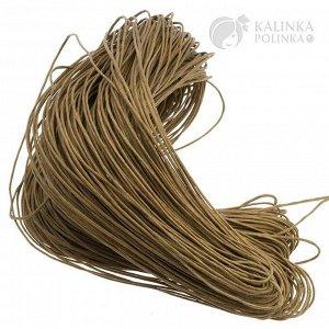 Шнур вощёный хлопковый, цвет оливковый, толщина 1 мм, в пасме 72 метра.