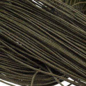 Шнур вощёный хлопковый, цвет тёмно-оливковый, толщина 1мм, в пасме 72 метра.