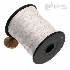 Шнур вощёный хлопковый на катушке, цвет отбеленный белый, толщина 0.8мм, длина 91 метр.