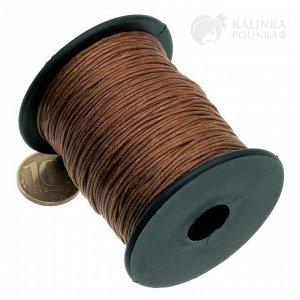 Шнур вощёный хлопковый на катушке, цвет коричневый, толщина 0.8мм, длина 91 метр.