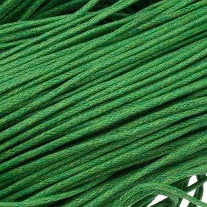 Шнур вощёный хлопковый, цвет яркий зелёный, толщина 1мм, в пасме 72метра.