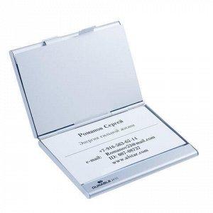 Визитница карманная DURABLE (Германия) на 20 визиток, с 2 отделениями, алюминиевая, 2433-23