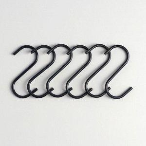 Набор крючков для рейлинга Доляна, d=2,2 см, 7 см, 6 шт, цвет чёрный