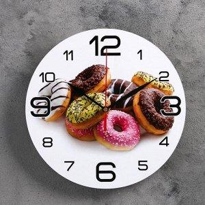 """Часы настенные круглые """"Пончики"""". 24 см"""